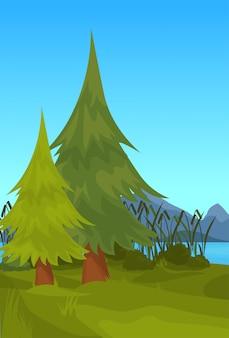 Landschaft fichte berg fluss schilf im freien natur