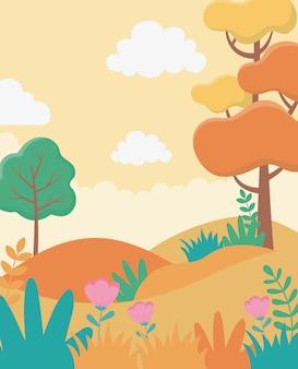 Landschaft herbstliches baumgraslaub-naturgrünbild