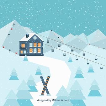 Landschaft hintergrund mit skigebiet