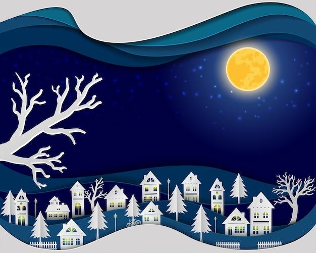 Landschaft im nachtszenenhintergrund