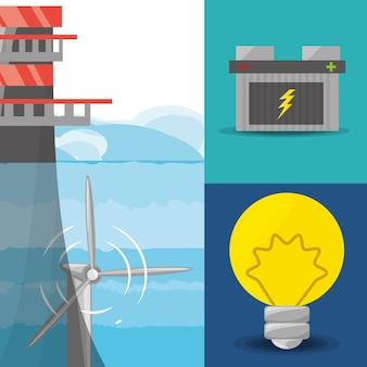 Landschaft im zusammenhang mit gezeitenenergie, baterie und glühbirne symbol