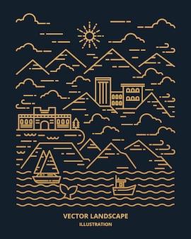 Landschaft in moderner flacher linie. dünne linienlandschaft mit berg, ozean, gebäude, wolken, sonne, boot, wal. illustration.