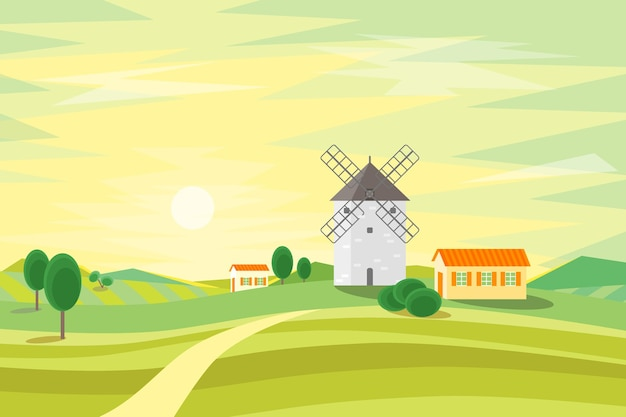 Landschaft ländlich mit traditioneller alter windmühle. flacher stil.