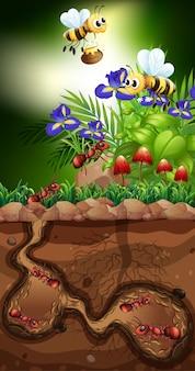 Landschaft mit ameisen und bienen