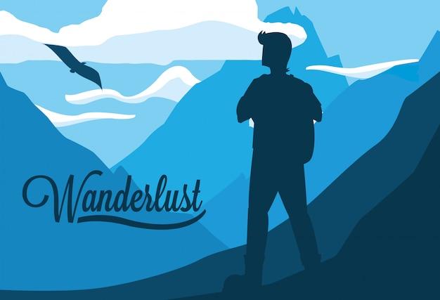 Landschaft mit bergen und reiselust