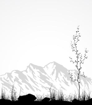 Landschaft mit bergkette, glas und baum. vektorillustration.