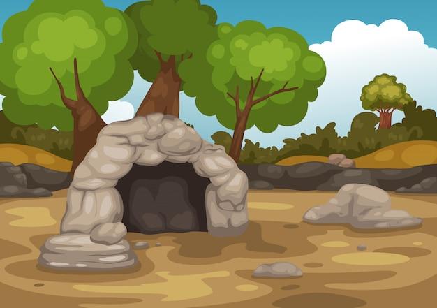 Landschaft mit höhlenvektor