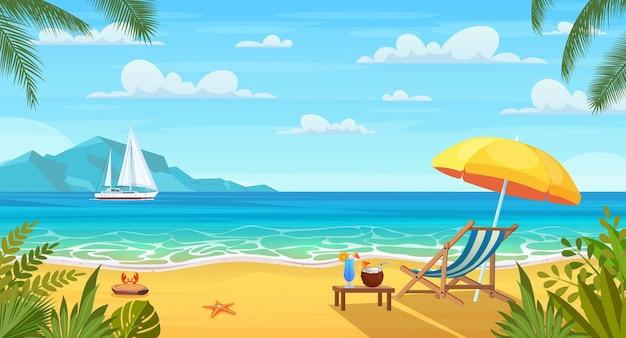 Landschaft mit hölzerner chaiselongue, regenschirm, tisch mit kokosnuss und cocktail am strand, berge.