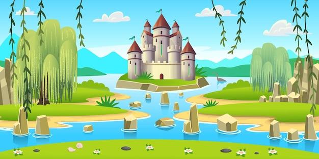 Landschaft mit inseln, schloss und einem fluss. karikatur