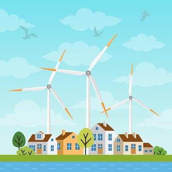 Landschaft mit kleinen häusern und windmühlen auf einem hintergrund von himmel und clowds. windkraftanlagen erzeugen in der natur ökologisch erneuerbare energie. alternative energiequellen.