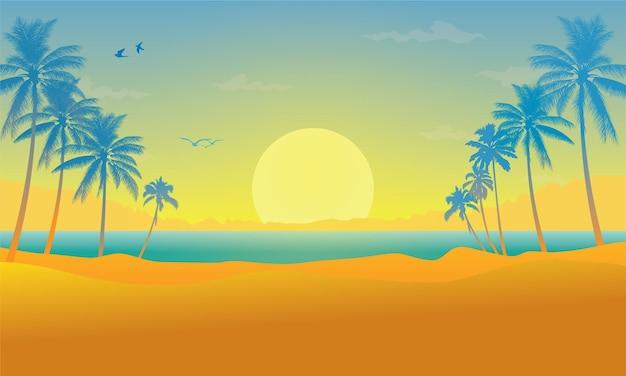 Landschaft mit kokospalmen am sonnenunterganghintergrund