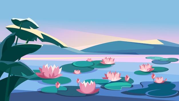 Landschaft mit lotussen und bergen. schöne naturkulisse.