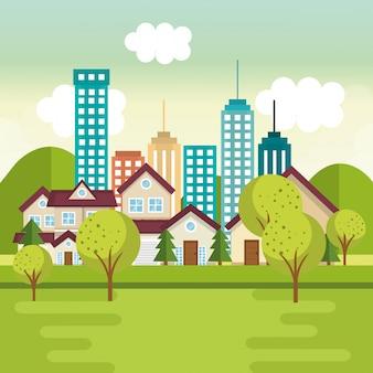 Landschaft mit nachbarschaftsszene