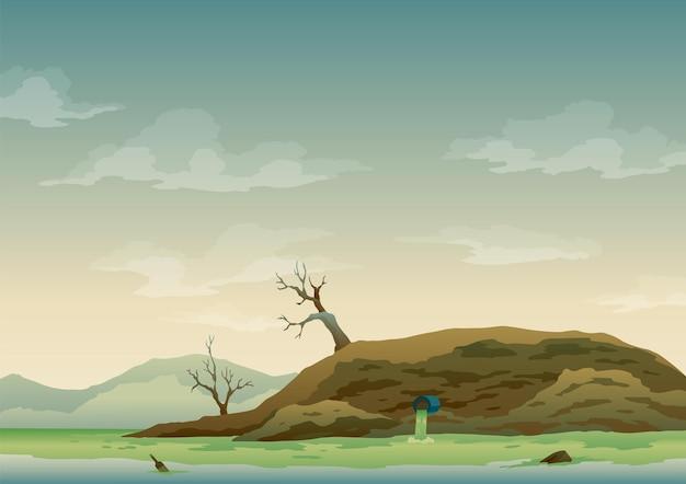 Landschaft mit ökologischer katastrophe. müllemission in das flusswasser. verschmutzte erde. kontaminiertes land mit toten bäumen, verschmutzte umwelt. ökologieproblemkonzept im flachen stil.