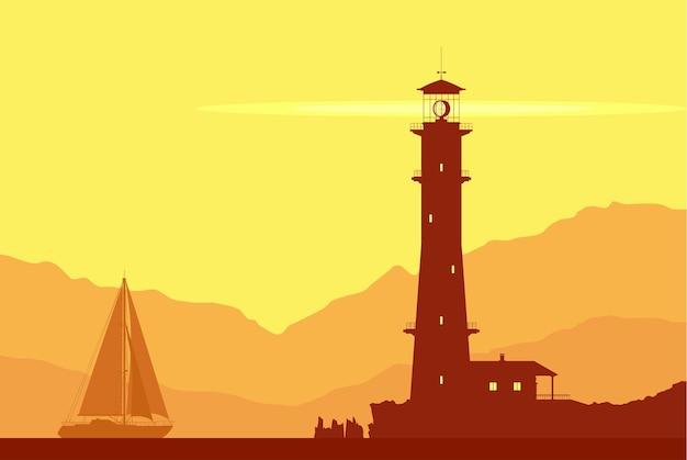 Landschaft mit riesigem leuchtturm und segelyacht. vektor-illustration.
