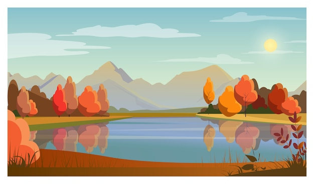 Landschaft mit see, bäumen, sonne und bergen im hintergrund