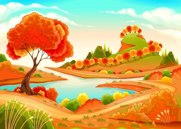 Landschaft mit teich, bäumen und hügeln
