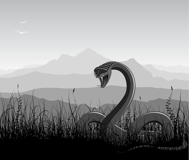 Landschaft mit wütender schlange, gras und bergen.
