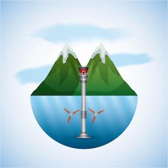 Landschaft natur- und meerwasserturbinen wind