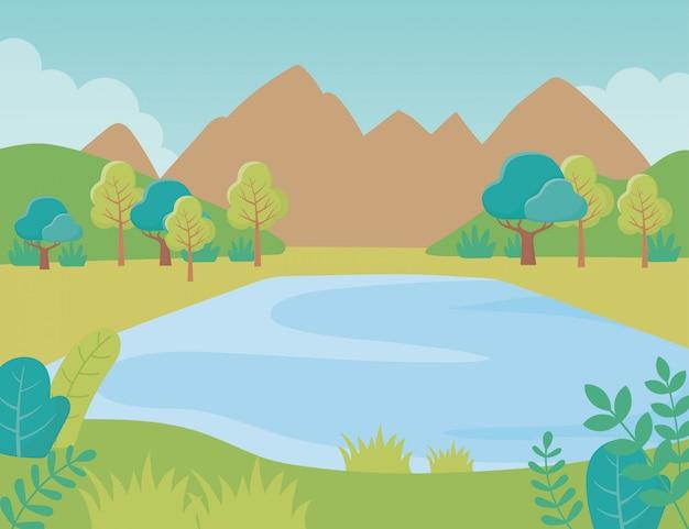 Landschaft see berge bäume laub natur grün bild