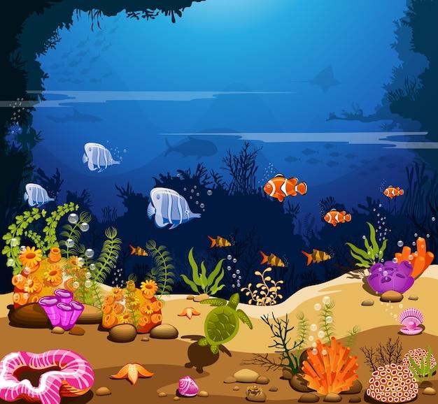 Landschaft unter dem meer die schönheit der lebewesen.