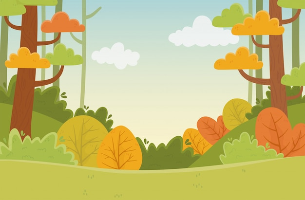 Landschaft vegetation pflanzen blätter bäume natur laub illustration