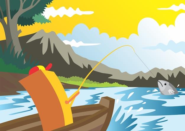 Landschaft von river, cartoon doodles