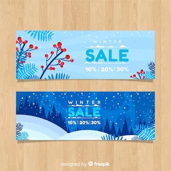 Landschaft winterschlussverkauf banner
