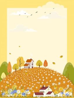 Landschaften des netten karikaturbauernhoffeldes im herbst mit der biene, die blütenstaub auf blumen sammelt.