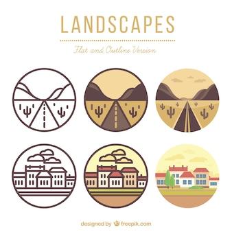Landschaften in flach und gliederung version
