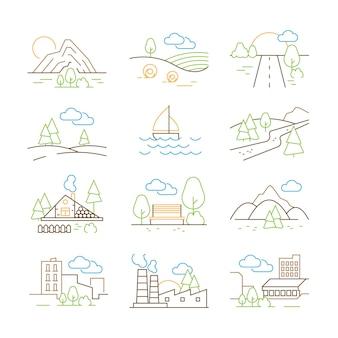Landschaften skizzieren. dünne linie bäume gebäude beherbergt outdoor park berge natur vektor panorama bilder sammlung. umreißen sie landschaft, tal und bergillustration