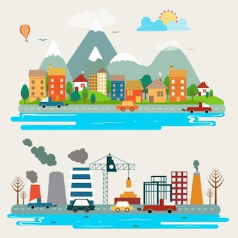 Landschaften von verschiedenen Städten