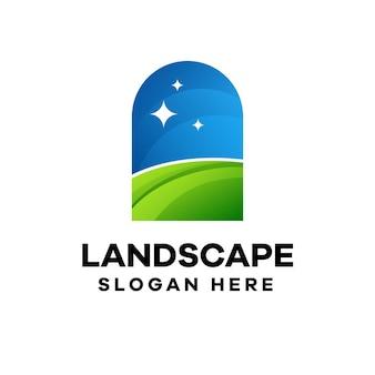 Landschafts-buntes farbverlauf-logo-design