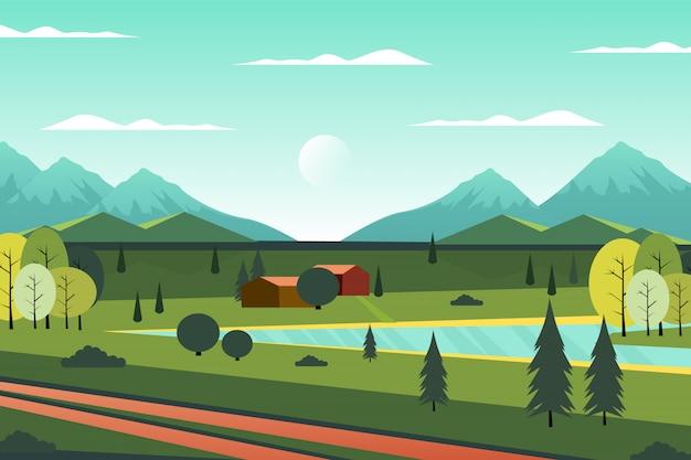 Landschafts-landhaus in der waldillustration