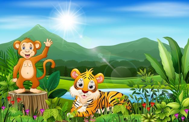 Landschaftsansichten von bergen mit wildem tier