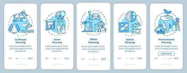 Landschaftsarchitektur onboarding mobiler app-seitenbildschirm mit konzepten. gebäudeinfrastruktur walkthrough 5 schritte grafische anweisungen. ui-vektorvorlage mit rgb-farbabbildungen