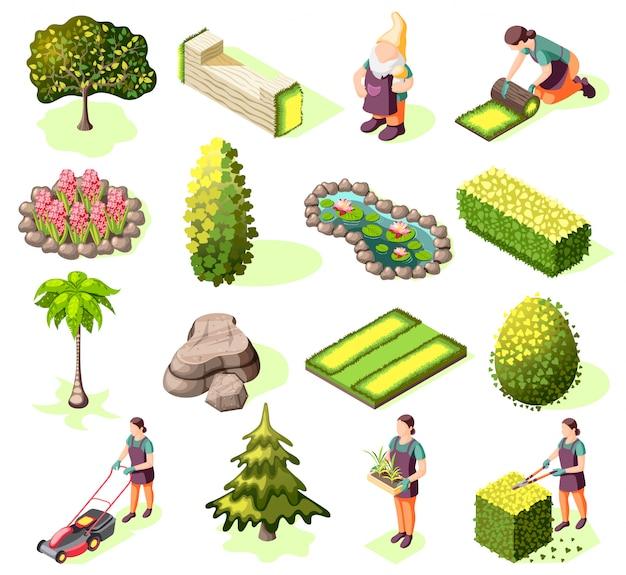 Landschaftsbau-satz von isometrischen symbolen mit elementen grünen rasenbäumen und büschen isoliert