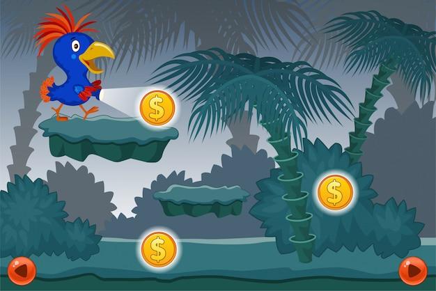 Landschaftscomputerspiel mit papageienillustration