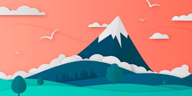 Landschaftsdesign im papierstil
