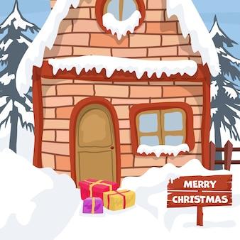Landschaftsentwurf mit winterhaus für weihnachtskarte