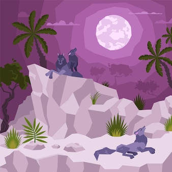 Landschaftsflache komposition mit blick auf tropische nacht mit mond und palmen mit wölfen auf klippen illustration