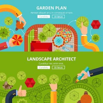 Landschaftsgarten-design-konzept-poster