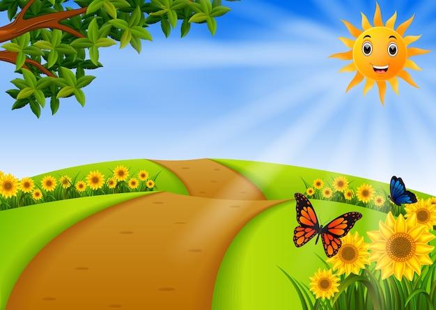 Landschaftsgarten mit sonnenblume