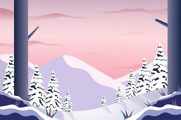 Landschaftsgebirgswinterlandschaft mit rosa himmelillustration