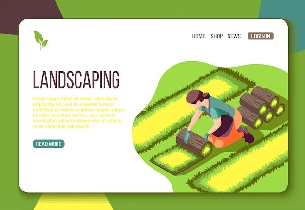 Landschaftsgestaltung isometrische web-landingpage mit verlegen von rasen und schnittstellenelementen