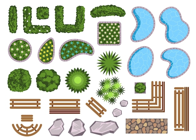 Landschaftsgestaltungselemente dekoration isoliert set vektor flache cartoon-grafik-design-illustration