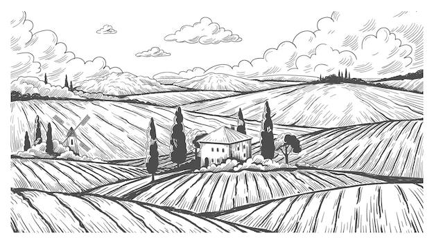 Landschaftsgravur. vintage naturlandschaftsskizze mit ländlichen hügeln, feldern und bauernhaus. vektor handgezeichnete monochrome illustration landwiese mit ackerland und windmühle