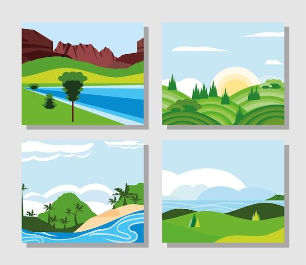 Landschaftsgrünfelderfluss gesetzt Premium Vektoren