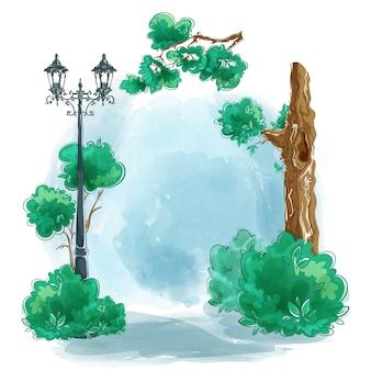 Landschaftshandgemaltes aquarell mit copyspace.