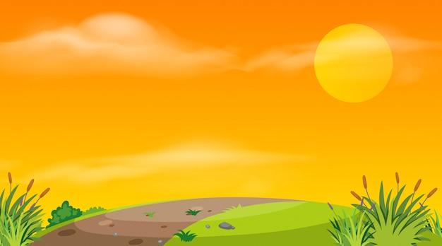Landschaftshintergrund der leeren straße bei sonnenuntergang